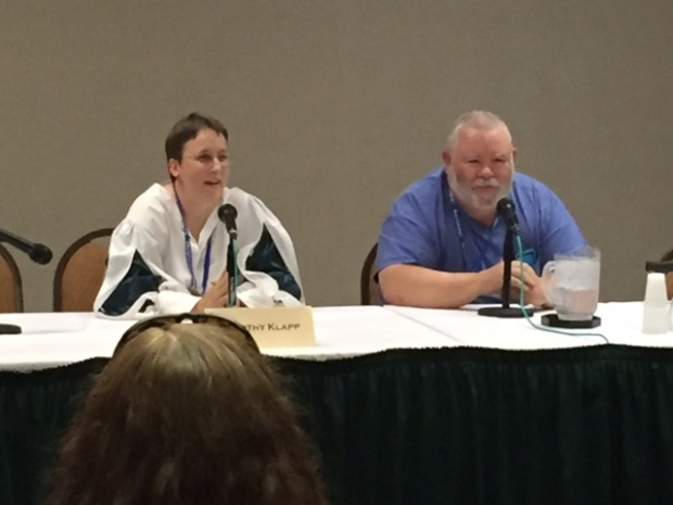 Dorothy Klapp (Grant) and Peter Grant on self-publishing panel