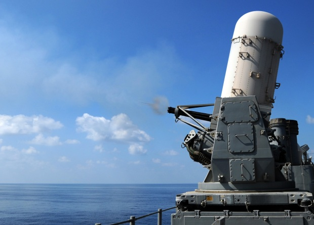 Phalanx CIWS test firing GULF OF OMAN (Nov. 7, 2008) The close-in weapons system (CWIS) is test fired from the deck of the guided-missile cruiser USS Monterey (CG 61). Monterey and the Theodore Roosevelt Carrier Strike Group are conducting operations in the U.S. 5th Fleet area of responsibility. (U.S. Navy photo by Mass Communication Specialist 3rd Class William Weinert/Released)