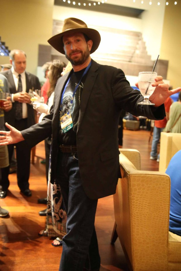 B Daniel Blatt shows off his eclectic outfit at Barcon