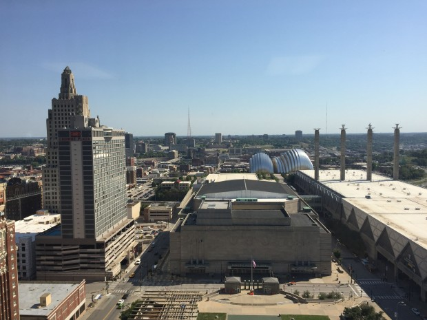 l-r: KCPL building, Municipal Auditorium, Kaufmann Center, Convention center