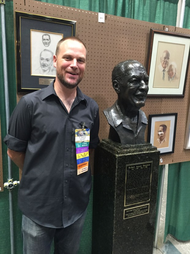 Sculptor E Spencer Schubert with Heinlein bust