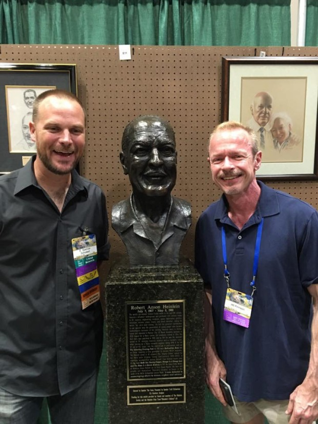 Artist E. Spencer Schubert and me with Heinlein bust