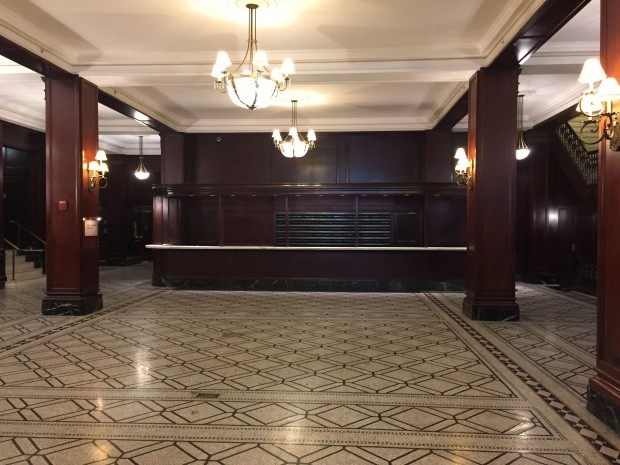 Old lobby Muehlebach, front desk