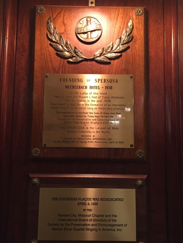 Plaque commemorating founding of Barbershop Quartet Society, 1938, Muehlebach Hotel