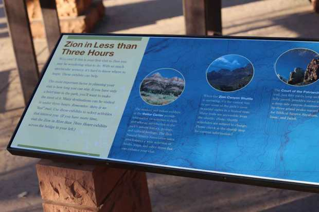 "Zion NP ""Less Than Three Hours"" sign"